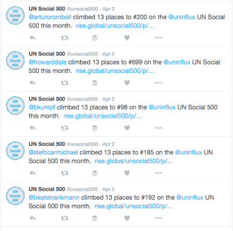 UN Social 500 as a stream of tweets