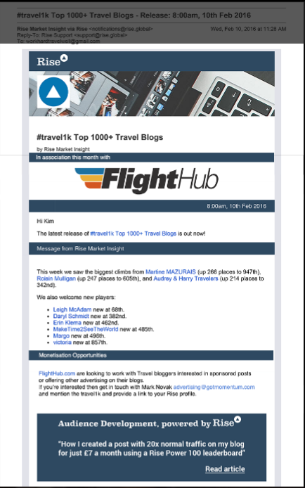 Travel1k Email Advert Example